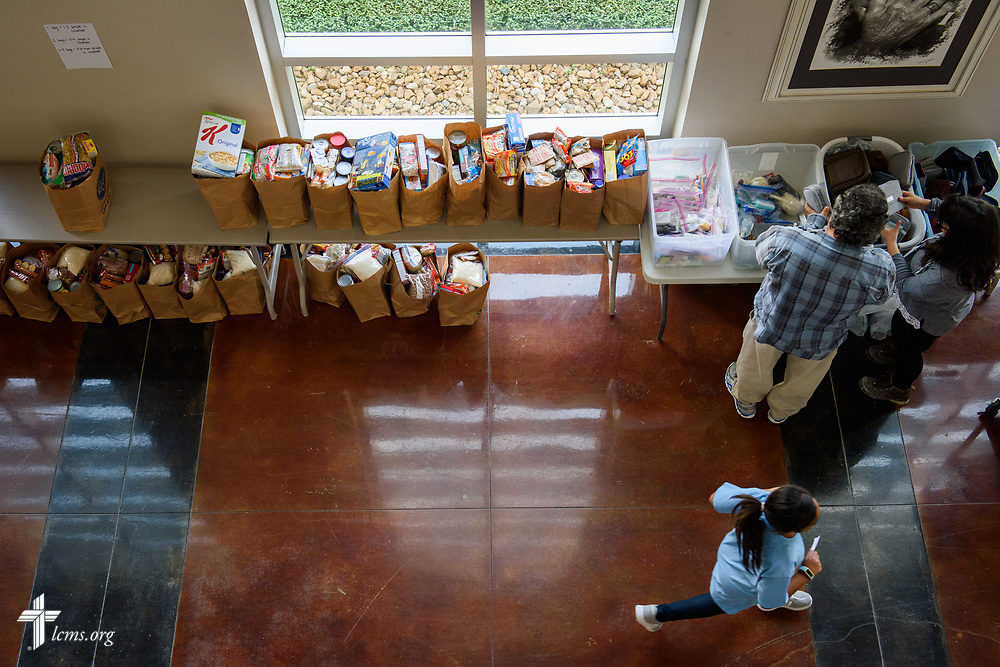 Donated supplies for Hurricane Harvey victims line the hall of Trinity Klein Lutheran Church, Spring, Texas, on Saturday, Sept. 2, 2017. LCMS Communications/Erik M. Lunsford
