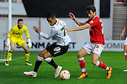 Derby County midfielder Thomas Ince and Bristol City defender Adam Matthews during the Sky Bet Championship match between Bristol City and Derby County at Ashton Gate, Bristol, England on 19 April 2016. Photo by Graham Hunt.