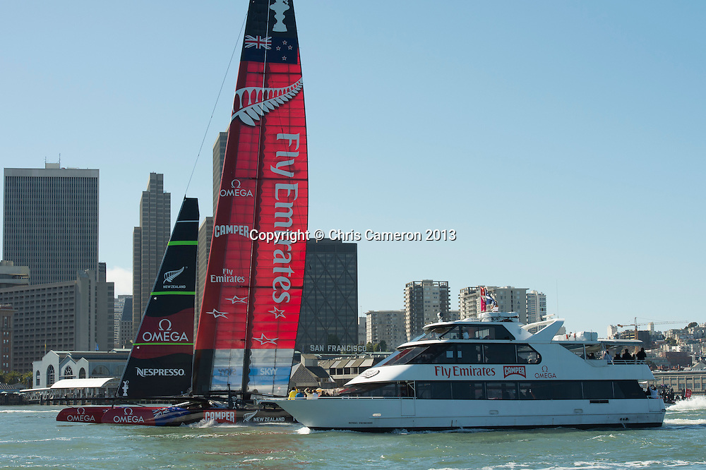 Emirates Team New Zealand head back to the base after losing both races on day 12 of America's Cup 34. 22/9/2013