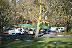 © Licensed to London News Pictures. 28/12/2017. London, UK. Police at the scene in Finsbury Park where the body of a young woman was found on Wednesday. A member of the public found the body of the woman, thought to be in her 20s, near the sports area in the centre of the park. Officers attended and the victim was pronounced dead at the scene. Photo credit: Ben Cawthra/LNP