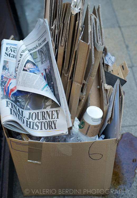 In the evening every single rubbish bin in London contains at least a copy of the day's edition.