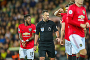 Manchester United midfielder Fred (17) and Manchester United defender Harry Maguire (5) appeal to the referee for handball which led to the second penalty during the Premier League match between Norwich City and Manchester United at Carrow Road, Norwich, England on 27 October 2019.