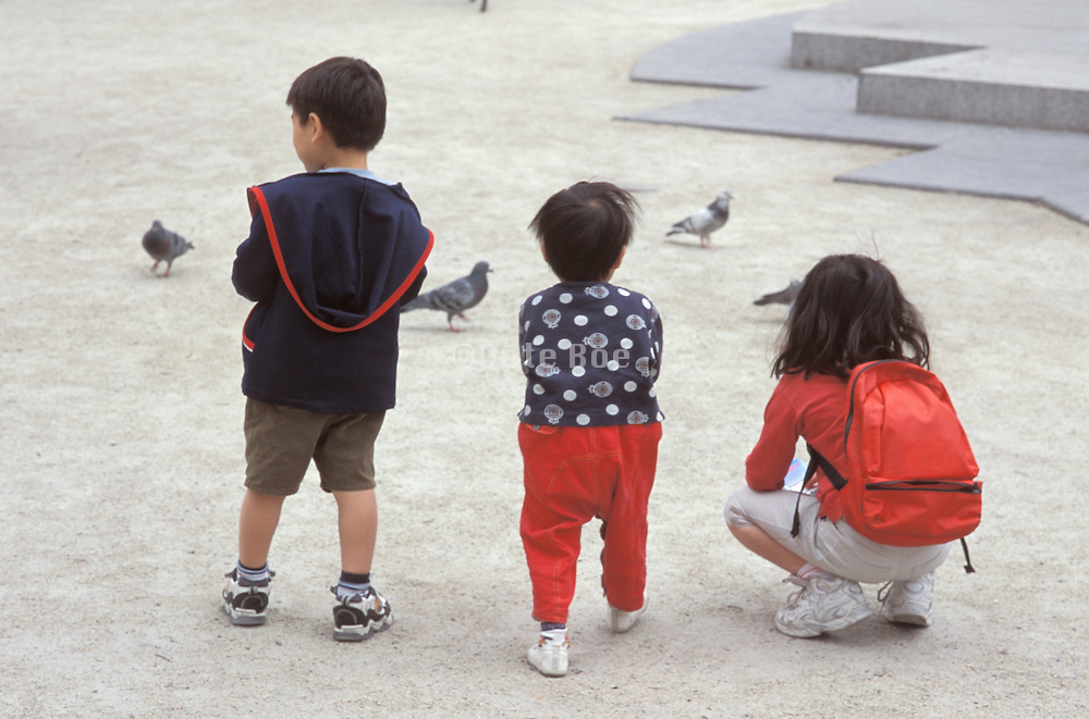 three Asian children feeding pigeons