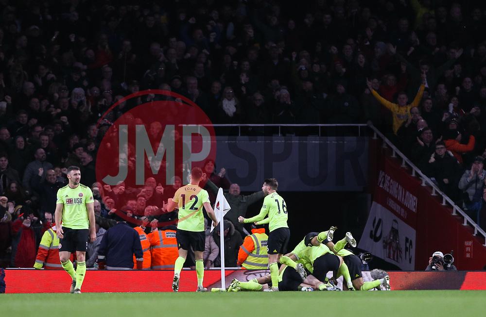 John Fleck of Sheffield United celebrates scoring to make it 1-1 - Mandatory by-line: Arron Gent/JMP - 18/01/2020 - FOOTBALL - Emirates Stadium - London, England - Arsenal v Sheffield United - Premier League