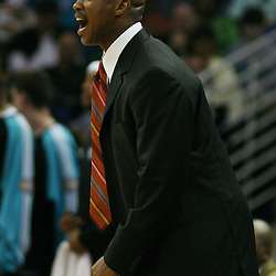 New Orleans Hornets head coach Byron Scott yells from the bench at officials about a call against his team in the second half of their game against the Golden State Warriors on April 6, 2008 at the New Orleans Arena in New Orleans, Louisiana. The New Orleans Hornets defeated the Golden State Warriors 108-96.