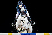 HONG KONG - FEBRUARY 21:  Laura Renwick of Great Britain rides Rembrandt Blue during the Massimo Dutti Trophy as part of the 2016 Longines Masters of Hong Kong on February 21, 2016 in Hong Kong, Hong Kong.  (Photo by Aitor Alcalde Colomer/Getty Images)