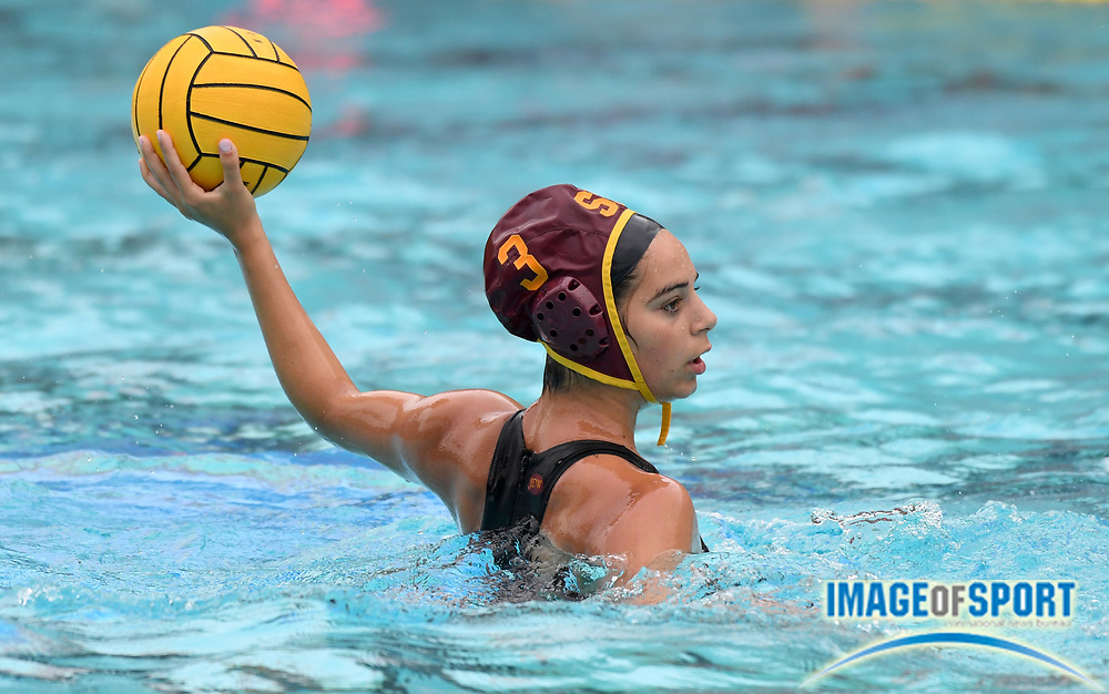 Southern California Trojans  driver Sabrina Garabet (3) against the Wagner Seahawks during an NCAA college women's water polo quarterfinal game in Los Angeles, Friday, May 11, 2018. USC defeated Wagner 12-5.  (Kirby Lee via AP)