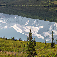 Beautiful reflection of Denali (The Great One) in Wonder Lake, Denali National Park, Alaska.