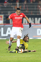 24.01.2016, Stadion An der Alten Foersterei, Berlin, GER, Testspiel, 1. FC Union Berlin vs. Borussia Dortmund, im Bild Bobby Wood (#15, 1. FC Union Berlin), Neven Subotic (#4, Borussia Dortmund) // during a preperation Football Match between 1. FC Union Berlin and Borussia Dortmund at the Stadion An der Alten Foersterei in Berlin, Germany on 2016/01/24. EXPA Pictures © 2016, PhotoCredit: EXPA/ Eibner-Pressefoto/ Hundt<br /> <br /> *****ATTENTION - OUT of GER*****
