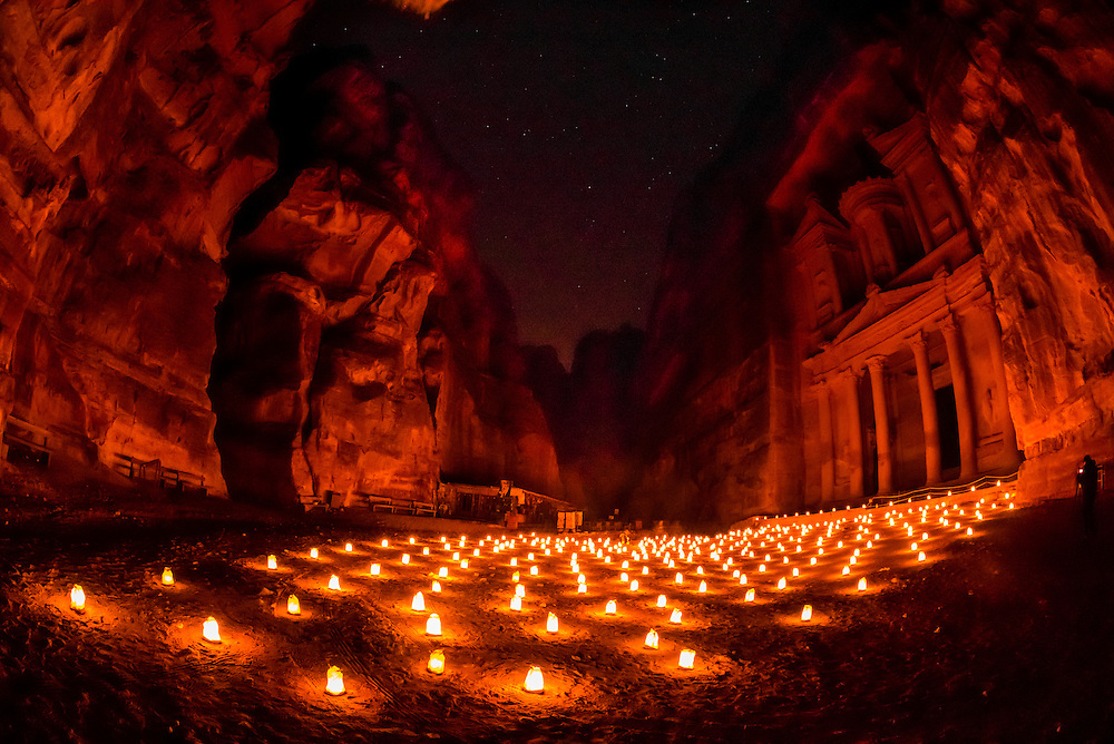 Petra by night (candlelit), The Treasury monument (Al-Khazneh), Petra archaeological site (a UNESCO World Heritage site), Jordan.