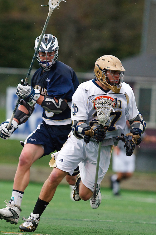 May 1, 2009:    #27Ryan Hoff of Notre Dame and #5 Leahy, Crandon of Quinnipiac in action during the NCAA Lacrosse game between Notre Dame and Quinnipiac at GWLL Tournament in Birmingham, Michigan. (Credit Image: Rick Osentoski/Cal Sport Media)