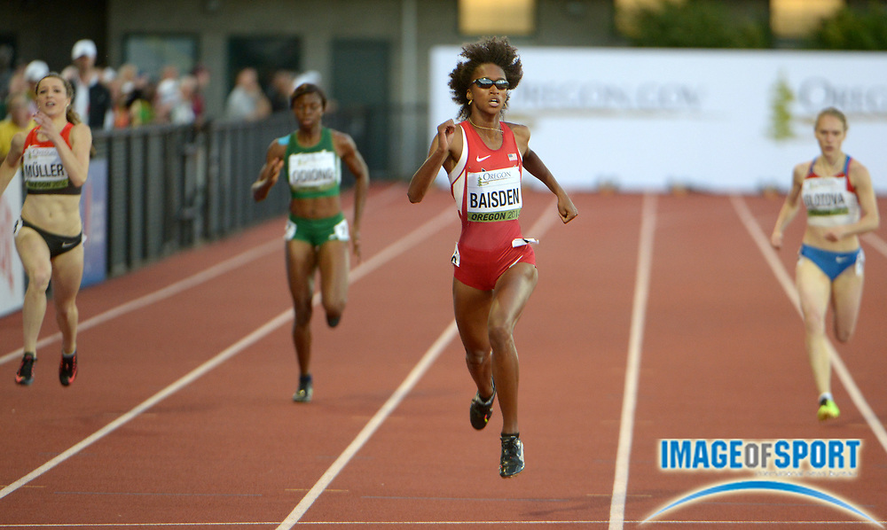 Jul 25, 2014; Eugene, OR, USA; Kendall Baisden (USA) wins  the womens 400m in 51.85 in the 2014 IAAF World Junior Championships at Hayward Field.