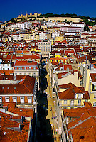 Looking down on Rua de Santa Justa leading toward Castelo de Sao Jorge, Lisbon, Portugal