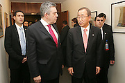 Secretary-General Ban Ki-moon speaks with Gordon Brown, Prime Minister of the United Kingdom of Great Britain and Northern Ireland.