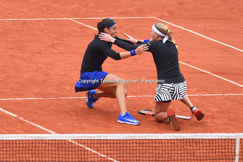 Kristina Mladenovic and Caroline Garcia winning the women double