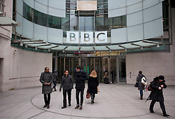 © Licensed to London News Pictures. 22/02/2013. London, UK. BBC Broadcasting House is seen in London today (22/02/2013). The British Broadcasting Corporation today released thousands of pages of transcripts relating to an investigation into why the corporation's flagship news programme 'Newsnight' shelved a report on sexual abuse by the late DJ Jimmy Savile. Photo credit: Matt Cetti-Roberts/LNP