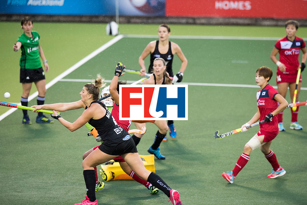 AUCKLAND - Sentinel Hockey World League final women<br /> Match id 10295<br /> 05 New Zealand  v Korea<br /> Foto: Olivia Merry missing the bal.<br /> WORLDSPORTPICS COPYRIGHT FRANK UIJLENBROEK