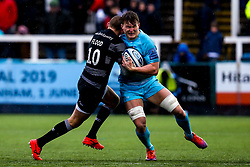 Ted Hill of Worcester Warriors is tackled by Toby Flood of Newcastle Falcons - Mandatory by-line: Robbie Stephenson/JMP - 03/03/2019 - RUGBY - Kingston Park - Newcastle upon Tyne, England - Newcastle Falcons v Worcester Warriors - Gallagher Premiership Rugby