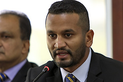 May 6, 2019 - Colombo, Sri Lanka - Sri Lankan cricket captain Dimuth Karunaratne speaks at a press conference prior to leaving for ICC cricket World Cup 2019   at Sri Lanka Cricket HQ, Colombo, Sri Lanka 05-06-2019. (Credit Image: © Tharaka Basnayaka/NurPhoto via ZUMA Press)