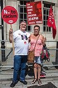 Roy Davis (PCS ARMS) Cardiff & Jackie Davis (Unite Community) The People's Assembly & Stand up to Racism demo, Central London. Saturday the 16th of July 2016.