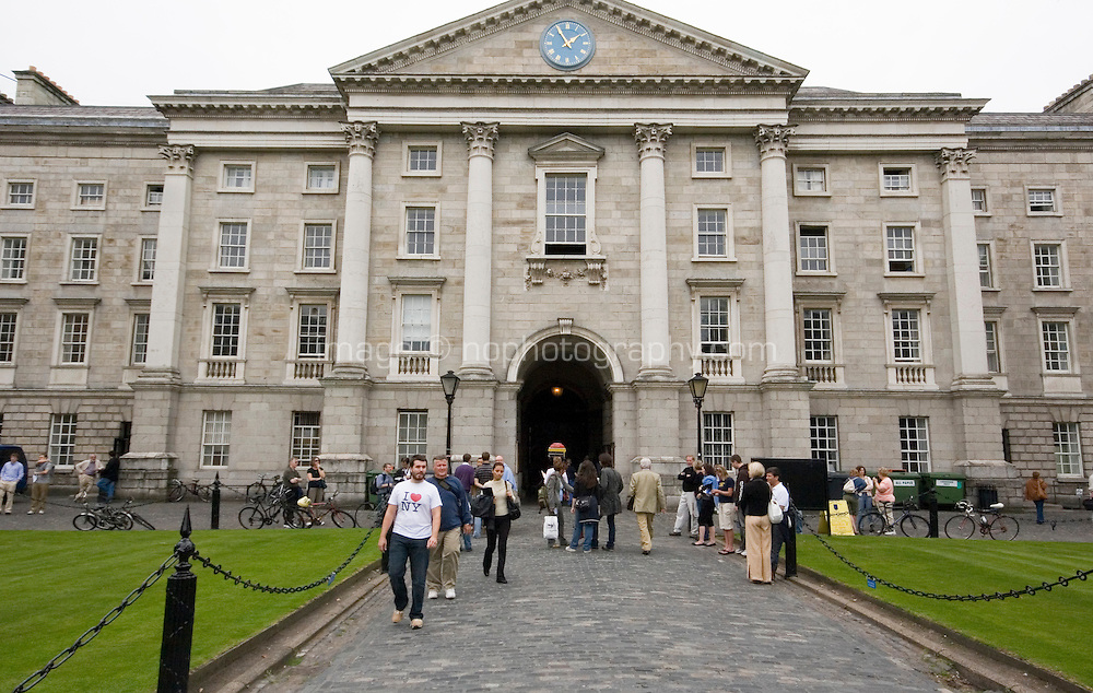 The front arch and the main entrance to Trinity College Dublin Ireland