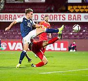 Scotland's Jason Cummings shoots during Scotland Under-21 v FYR Macedonia,  UEFA Under 21 championship qualifier  at Tynecastle, Edinburgh. Photo: David Young<br /> <br />  - © David Young - www.davidyoungphoto.co.uk - email: davidyoungphoto@gmail.com