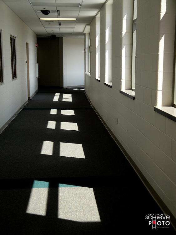 Sunny school hallway.