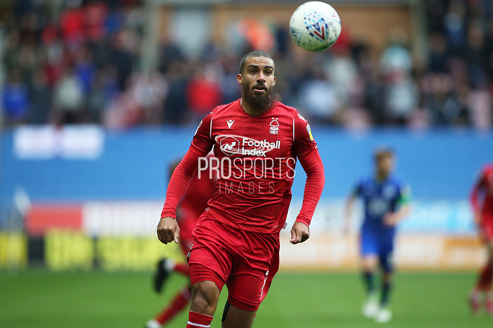 Nottingham Forest forward Lewis Grabban (7) during the EFL Sky Bet Championship match between Wigan Athletic and Nottingham Forest at the DW Stadium, Wigan, England on 20 October 2019.