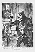 Robert Louis Stevenson 'The Strange Case of Dr Jekyll and Mr Hyde' first published 1886. Mr Hyde on his visit to Dr Lanyon eagerly mixes the chemicals Dr Jekyll has sent there, drinks down the mixture. Illustration by Edmund J. Sullivan from an edition published 1928.