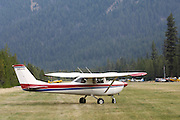 Cessna 152 preparing for takeoff from Johnson Creek, ID