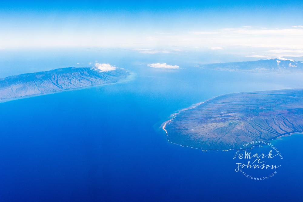 Aerial photograph of Molokai (left), Lanai (right), and Maui (far distance), Hawaii, USA