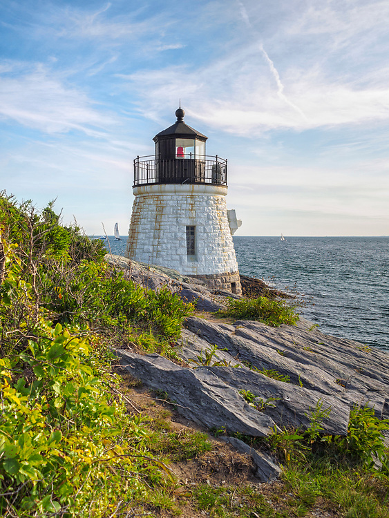 Castle Hill Lighthouse in summer, a beautiful and famous New England light house, Newport, Rhode Island, USA