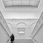 AMSTERDAM, THE NETHERLANDS - FEBRUARY 09th, 2015: Visitors at the renovated Stedelijk museum (Municipal Museum) Amsterdam, the Netherlands, in February 2015