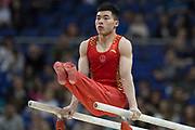 Jianlin Luo of China (CHN) on the Pommel Horse during the iPro Sport World Cup of Gymnastics 2017 at the O2 Arena, London, United Kingdom on 8 April 2017. Photo by Martin Cole.