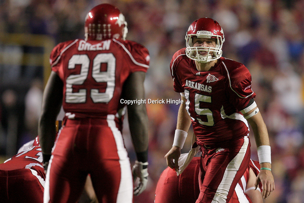 Nov 28, 2009; Baton Rouge, LA, USA; Arkansas Razorbacks quarterback Ryan Mallett (15) calls an audible to running back Broderick Green (29) during the first half against the LSU Tigers at Tiger Stadium. LSU defeated Arkansas in overtime 33-30. Mandatory Credit: Derick E. Hingle-US PRESSWIRE