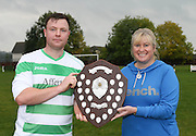 Lochee captain Michael Spink receives the trophy from Alison Inglis of ward 32 at Ninewells hospital - Dundee Summer Football League Charity Cup Final at Downfield Park<br /> <br />  - &copy; David Young - www.davidyoungphoto.co.uk - email: davidyoungphoto@gmail.com