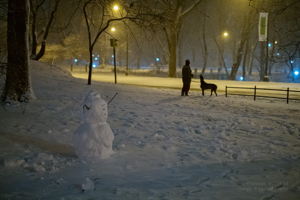 February 8, 2013, New York, NY, US:  A snowman stands in Central Park as snow falls from a massive winter storm forecast to bring over two feet of snow to parts of the northeast United States