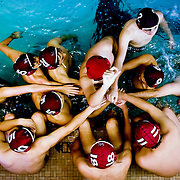 September 29, 2010 - Bronx, NY : The Horace Mann water polo team were overcome by a dominant St. Benedict's squad in their Sept. 29 matchup. The team huddles together between quarters.<br /> CREDIT: Karsten Moran / The Riverdale Press