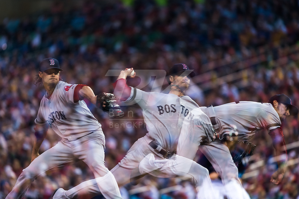 [Note: This photo was created by combining multiple exposures in-camera.] Clay Buchholz #11 of the Boston Red Sox pitches against the Minnesota Twins on May 17, 2013 at Target Field in Minneapolis, Minnesota.  The Red Sox defeated the Twins 3 to 2.  Photo: Ben Krause