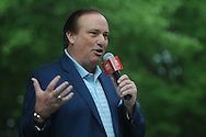 Tim Brando serves as host during Grove Bowl pre-game activities in the Grove at the University of Mississippi in Oxford, Miss. on Saturday, April 17, 2010.