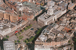 Aerial view of the Council House and Market Square in Nottingham,