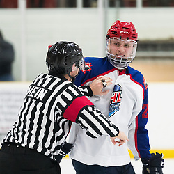 MISSISSAUGA, ON  - JAN 23,  2018: Canadian Junior Hockey League, Prospects Game 2018, Mason Snell #20 of CJHL Prospect Team East reacts after an altercation during the third period.<br /> (Photo by Kevin Raposo / OJHL Images)