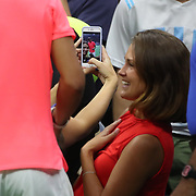 2017 U.S. Open Tennis Tournament - DAY TWO. Fans take pictures of Rafael Nadal of Spain after his win against Dusan Lajovic of Serbia during the Men's Singles round one match at the US Open Tennis Tournament at the USTA Billie Jean King National Tennis Center on August 29, 2017 in Flushing, Queens, New York City.  (Photo by Tim Clayton/Corbis via Getty Images)