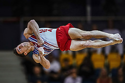 November 2, 2018 - Doha, Qatar - Samuel Mikulak of  United States   during  Floor for Men at the Aspire Dome in Doha, Qatar, Artistic FIG Gymnastics World Championships on 2 of November 2018. (Credit Image: © Ulrik Pedersen/NurPhoto via ZUMA Press)