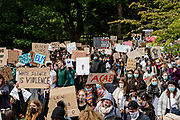 Thousands of protesters leave Bute park during the Black Lives Matter protest in Cardiff, Wales on 6 June 2020.