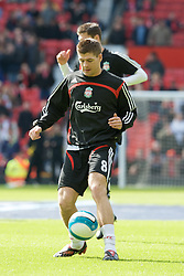 MANCHESTER, ENGLAND - Sunday, March 23, 2008: Liverpool's captain Steven Gerrard MBE warms up before the Premiership match against Manchester United at Old Trafford. (Photo by David Rawcliffe/Propaganda)