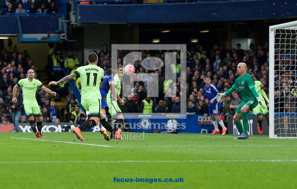 Diego Costa (left) of Chelsea scores the opening goal during the FA Cup match at Stamford Bridge, London<br /> Picture by Alan Stanford/Focus Images Ltd +44 7915 056117<br /> 21/02/2016