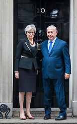 © Licensed to London News Pictures. 02/11/2017. London, UK. Prime Minister Theresa May greets Israeli Prime Minister Benjamin Netanyahu outside 10 Downing Street. Photo credit: Rob Pinney/LNP