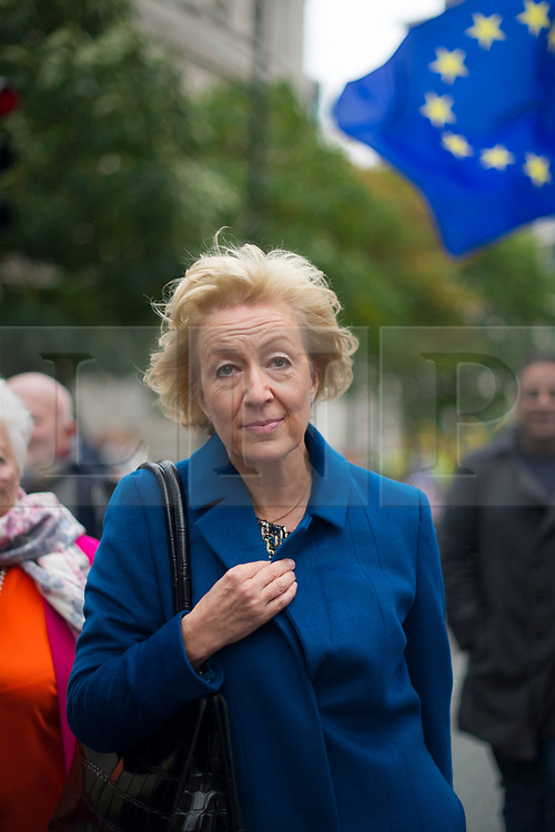 © Licensed to London News Pictures. 04/10/2017. Manchester, UK.  Andrea Leadsom walking past demonstration on the final day of the Tory Party Conference. The protest was as part of the Take Back Manchester festival to protest the conference taking part in the city.  Photo credit: Steven Speed/LNP