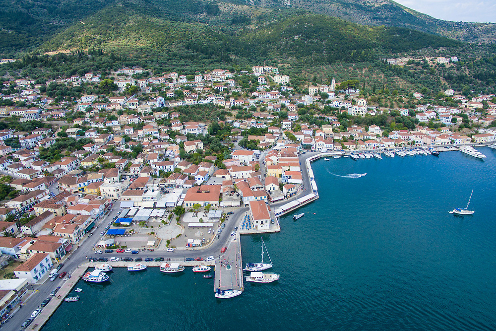 Aerial images of Vathy village, the main town of the island.